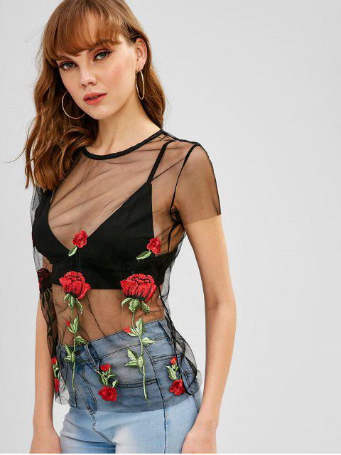 women's Floral Embroidered Sheer Mesh Tee - BLACK M Mobile
