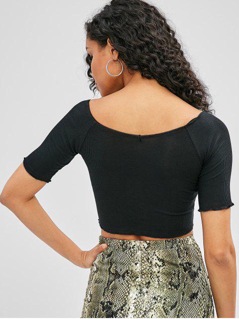 Cuello barco camiseta acanalada recortada - Negro S Mobile
