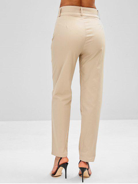 Pantalon Droit Boutonné à Taille Haute - Kaki Léger M Mobile