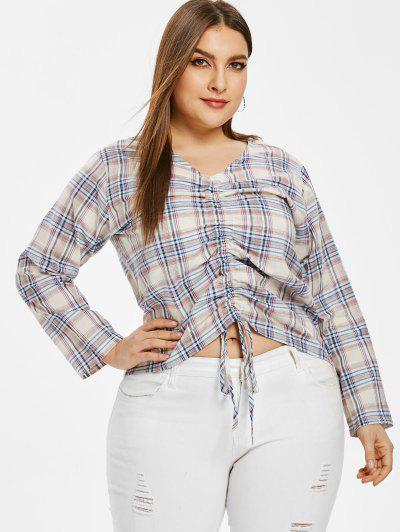 196a324809a73 Plus Size Plaid Cinched Blouse - Multi 1x ...