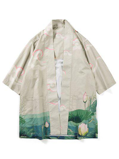 Crane Bird Lotus Print Kimono Cardigan - Beige L