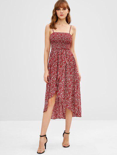 ZAFUL Smocked Tiny Floral Asymmetric Cami Dress - Red Wine S ... 0def18db2