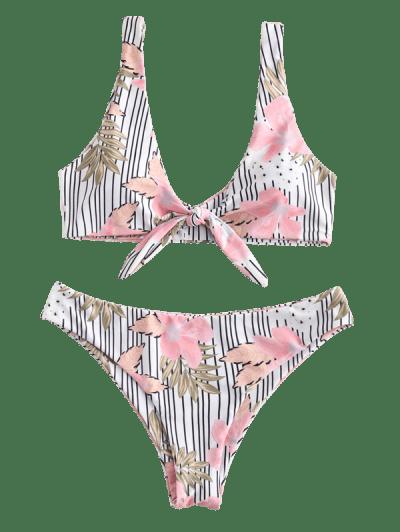 ZAFUL Flower Striped Tied Bikini Set, Multi-a