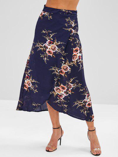 3587d26df2 ... Falda Larga Asimétrica Con Abrigo Floral - Azul De Medianoche M