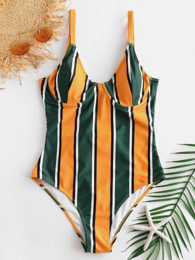 ZAFUL Colorful Striped Underwire Swimsuit - Multi-a S