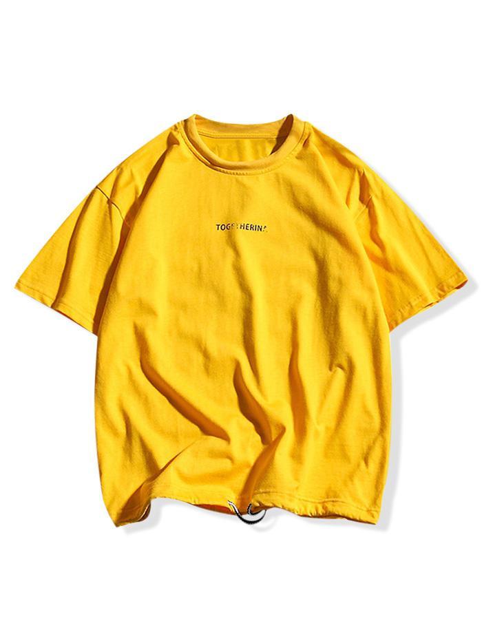Letters Print Applique Drawstring Casual T-shirt