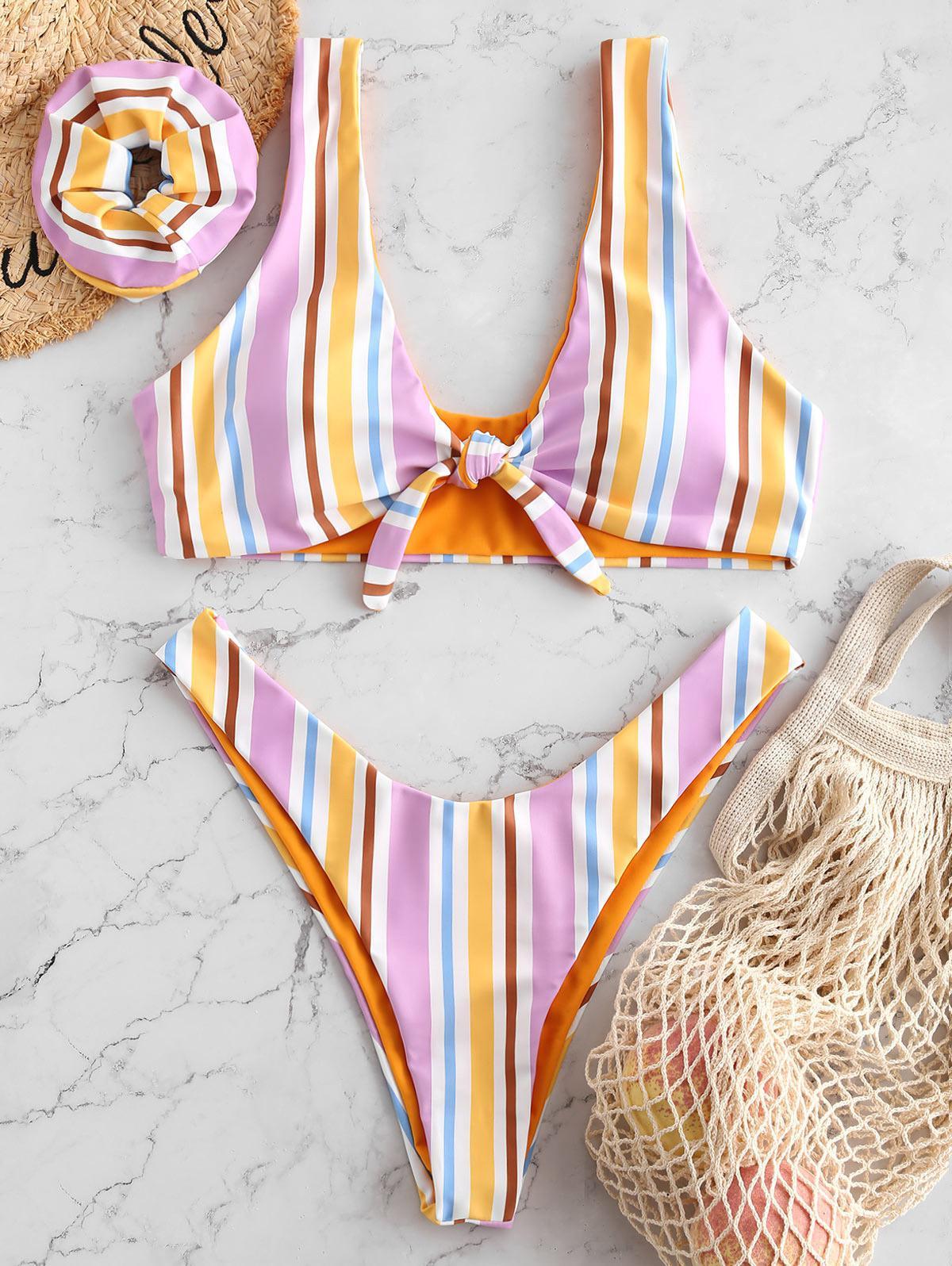 ZAFUL Colorful Striped Tied Plunging Bikini Set фото