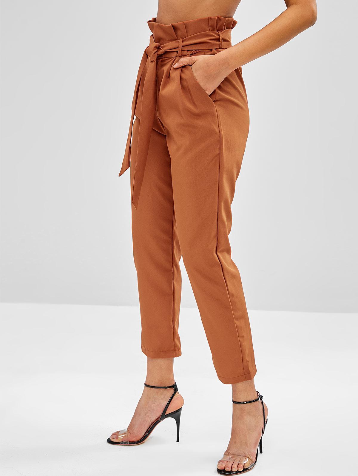 High Waisted Side Pockets Paper Bag Pants фото
