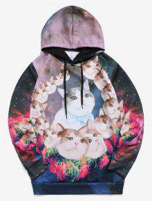 غالاكسي القطط الزهور طباعة الكنغر جيب هوديي - متعدد 2xl