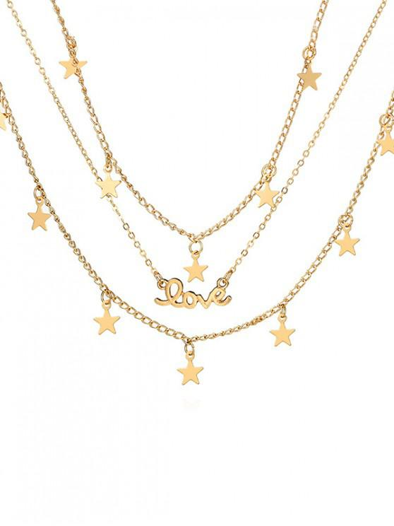 lady Star Shape Multilayered Alloy Necklace - GOLD