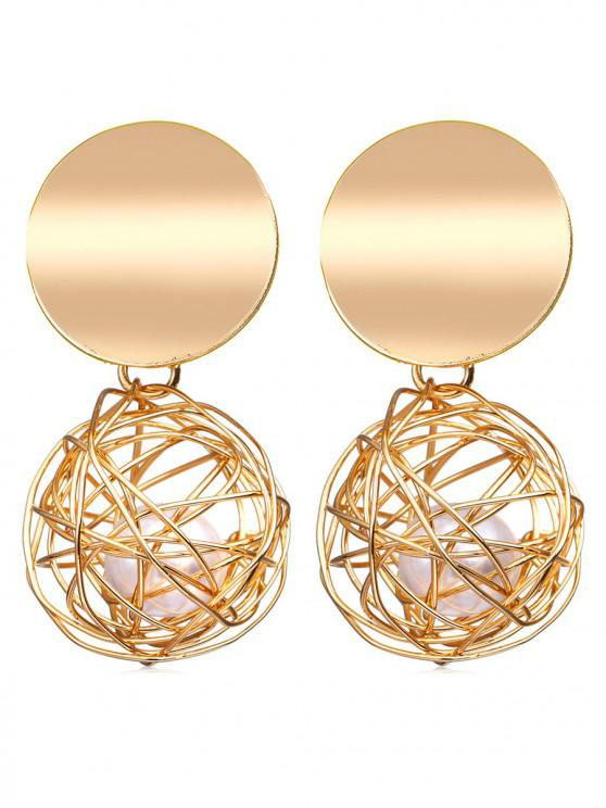 best Braided Ball Faux Pearl Drop Earrings - GOLD