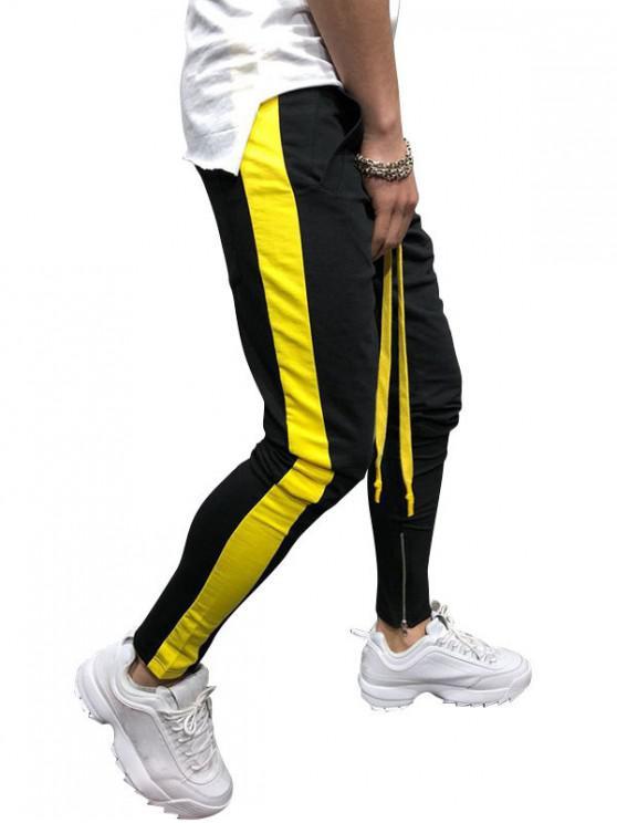 shop Side Striped Contrast Sports Pants - BLACK L