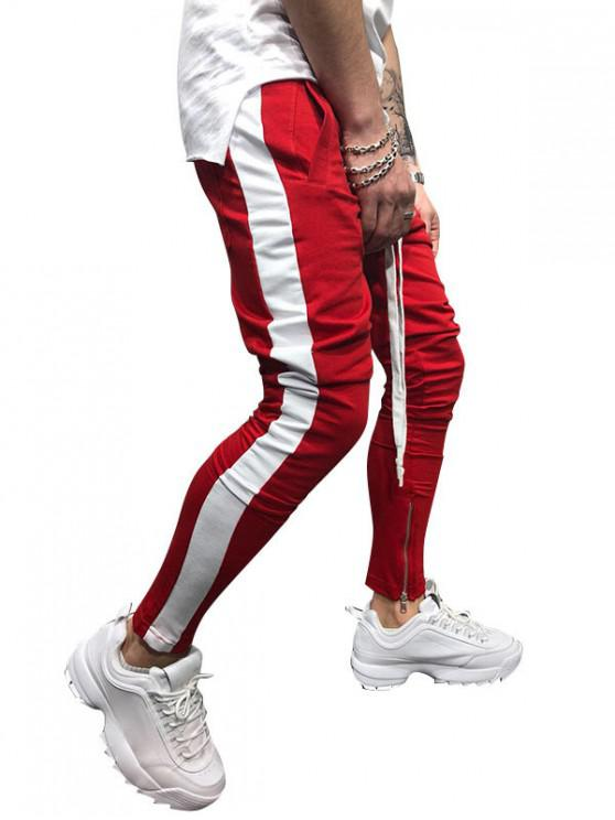 trendy Side Striped Contrast Sports Pants - RED M