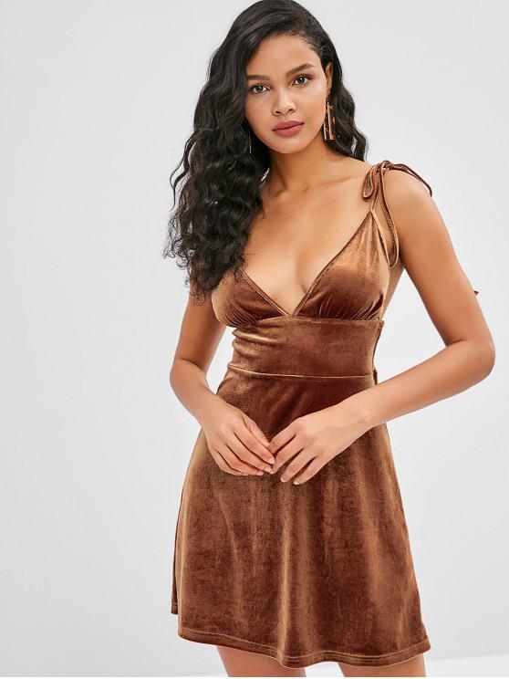 ZAFUL - Samtiges Cami-Kleid mit geraffter Rückseite - Dunkle Goldrute XL