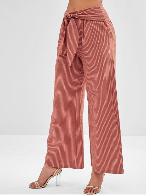 outfits ZAFUL Striped Wide Leg Knot Pants - BROWN M