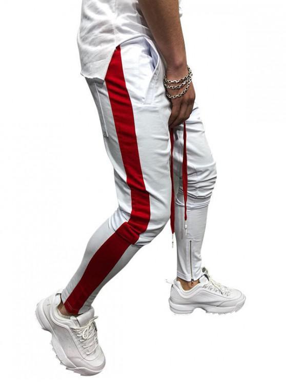 women Side Striped Contrast Sports Pants - WHITE L