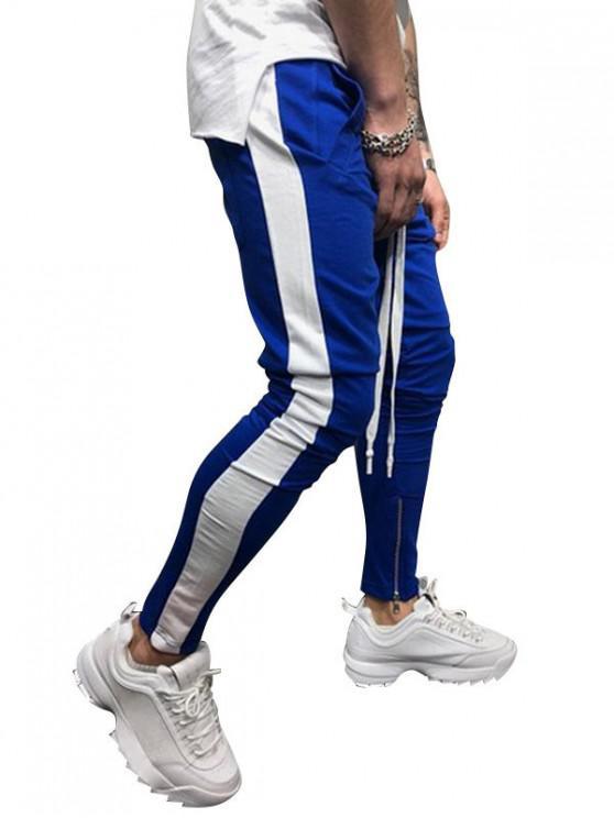 sale Side Striped Contrast Sports Pants - BLUE L