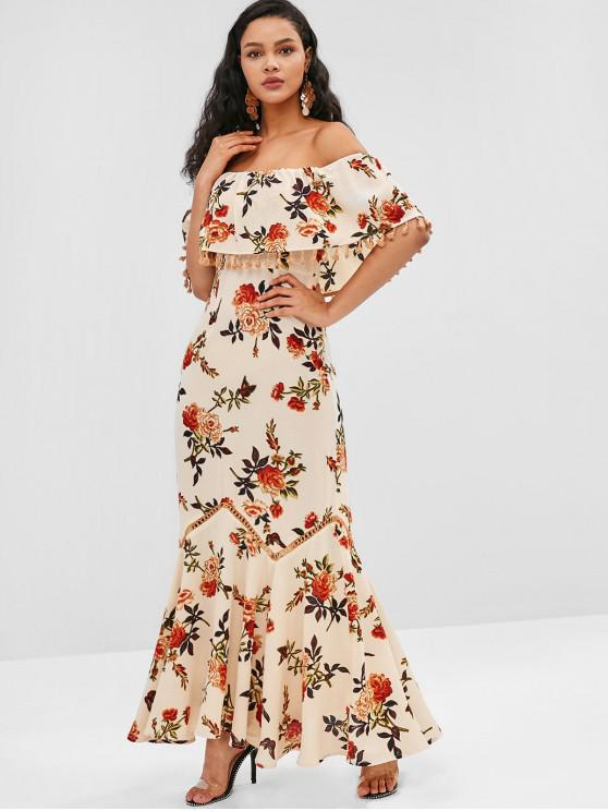 sale ZAFUL Tassel Flounce Flower Print Long Dress - BLANCHED ALMOND L
