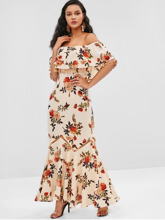 lady ZAFUL Tassel Flounce Flower Print Long Dress - BLANCHED ALMOND M