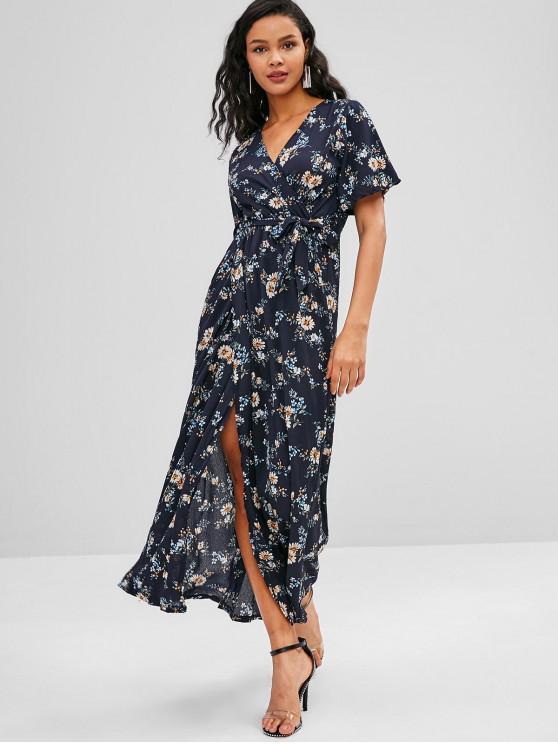 0def445dd 35% OFF  2019 High Slit Belted V Neck Floral Maxi Dress In DEEP BLUE ...