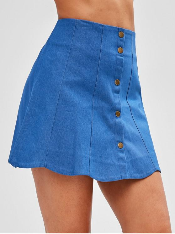 top-rated genuine best quality for discount price Button Fly Scalloped Denim Skirt BLUE
