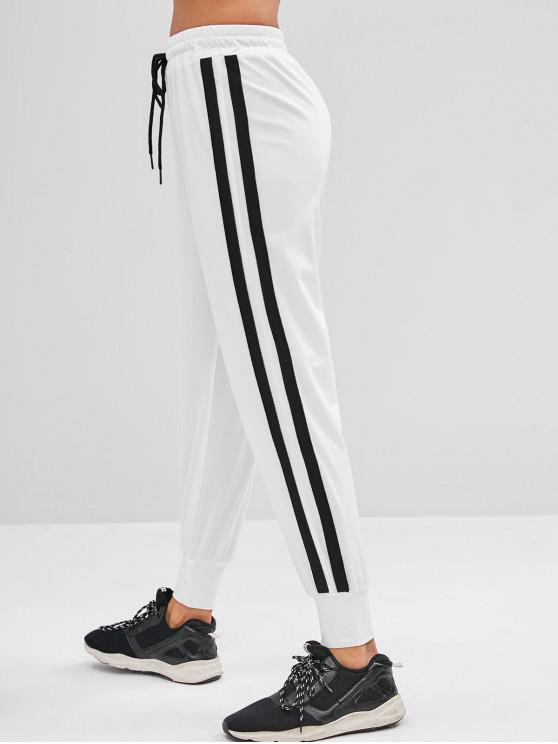 lady ZAFUL Drawstring Stripes Sports Pants - WHITE S