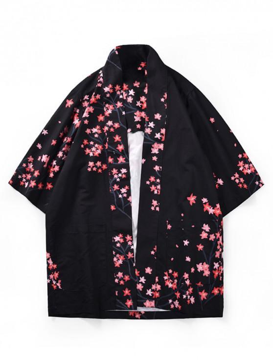 online Dragon Flower Print Kimono Cardigan - BLACK L