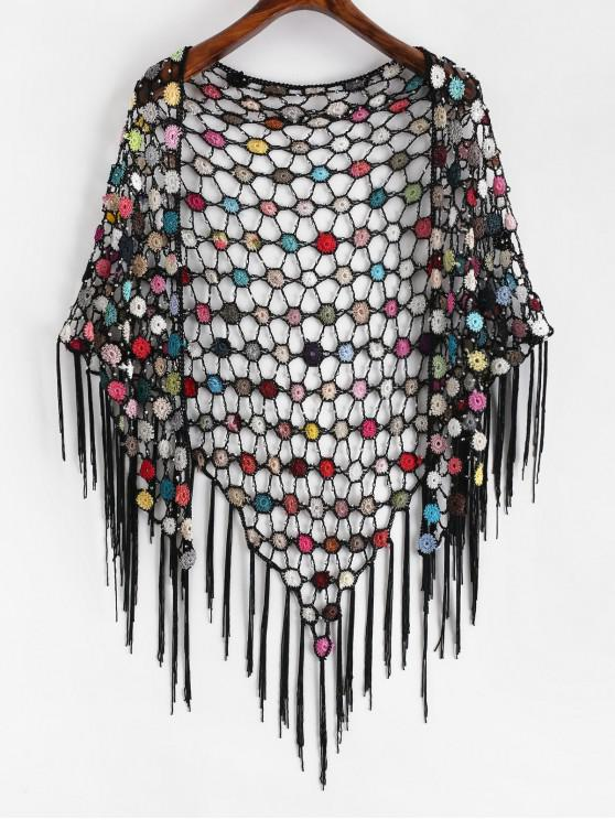 fancy Fringed Beaded Floral Crochet Cover-up - MULTI-A ONE SIZE