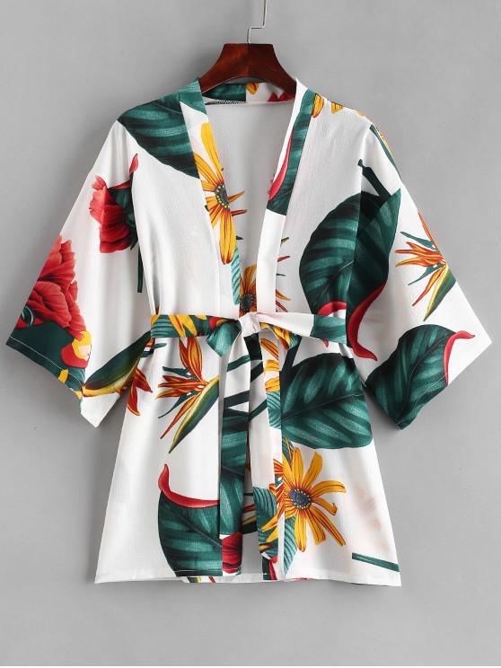 unique Plant Print Belt Kimono - WHITE L