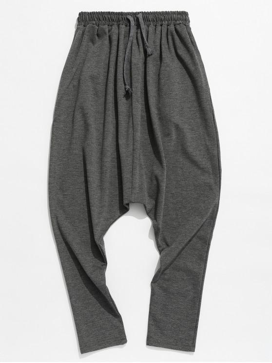 latest Solid Drawstring Harem Pants - DARK GRAY M