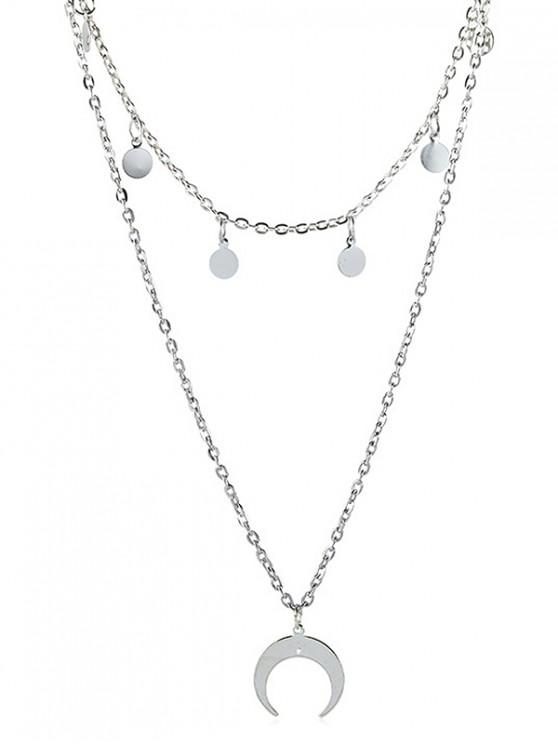 womens Round Disc Decoration Moon Design Necklace - SILVER