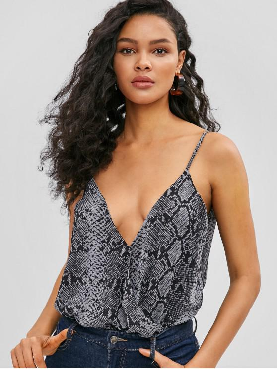 fashion ZAFUL Snakeskin Print Cami Bodysuit - BLACK M