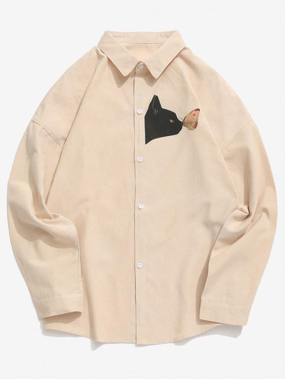 trendy Kitten Butterfly Print Long Sleeves Shirt - KHAKI 4XL