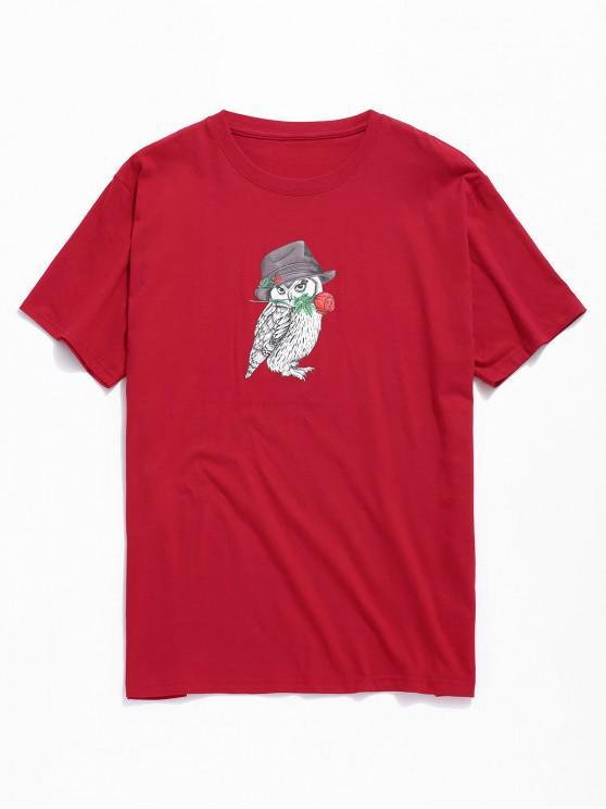 T-shirt con stampa gufo e rosa - Rosso L