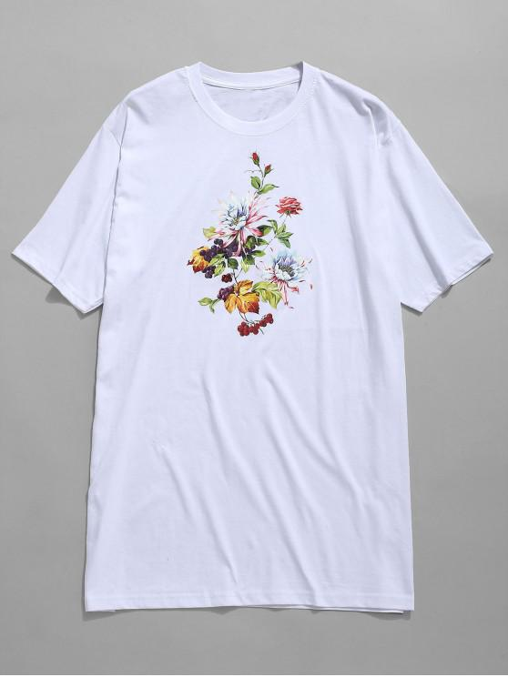 T-shirt con stampa fiori - Bianca 2XL