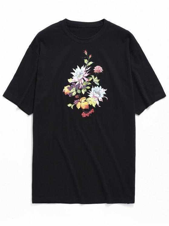 T-shirt con stampa fiori - Nero 2XL