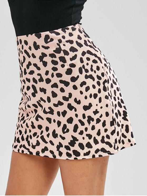 chic Spot Print Satin Mini Skirt - LEOPARD M