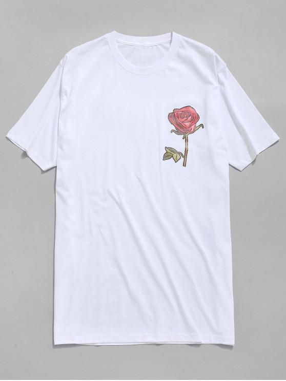 Una t-shirt con stampa rose - Bianco 2XL