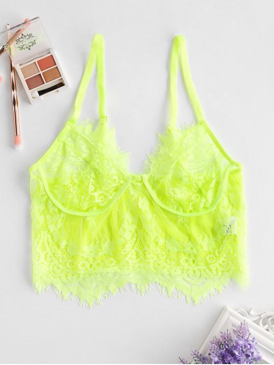 sale Neon Floral Lace Longline Lingerie Bra - GREEN YELLOW L