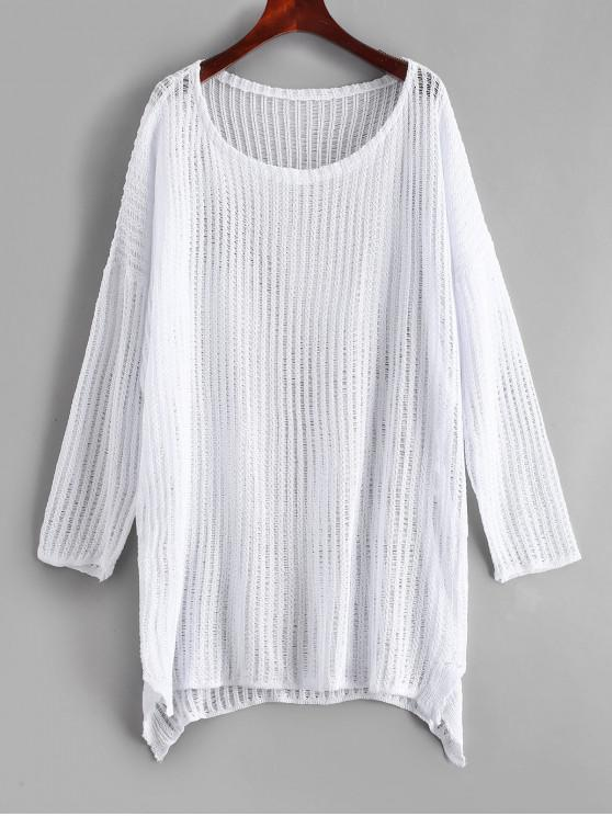 trendy Crochet Tunic Top - WHITE ONE SIZE