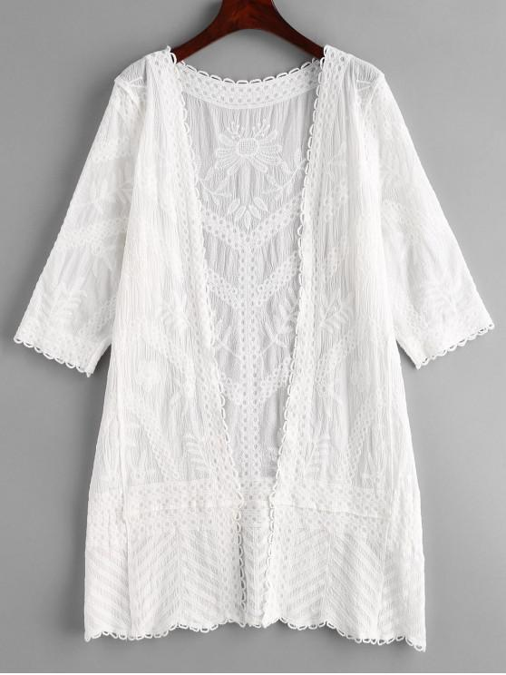 fashion Flower Embroidered Open Front Beach Cover Up - WHITE ONE SIZE