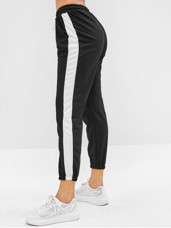 unique Drawstring Ninth Jogger Pants - BLACK ONE SIZE