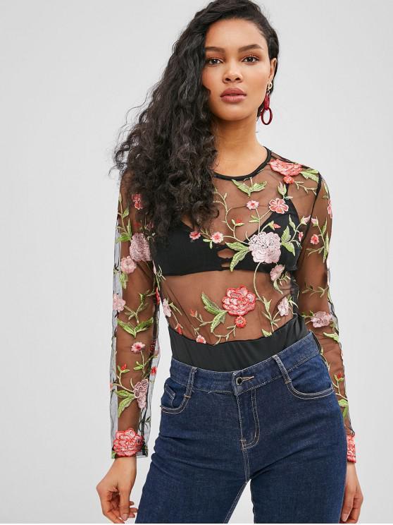 shop Mesh Floral Embroidered Bodysuit - BLACK M