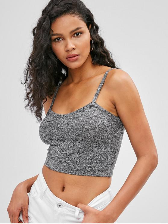 Gemischte Garn Knit Crop Top - Grau S