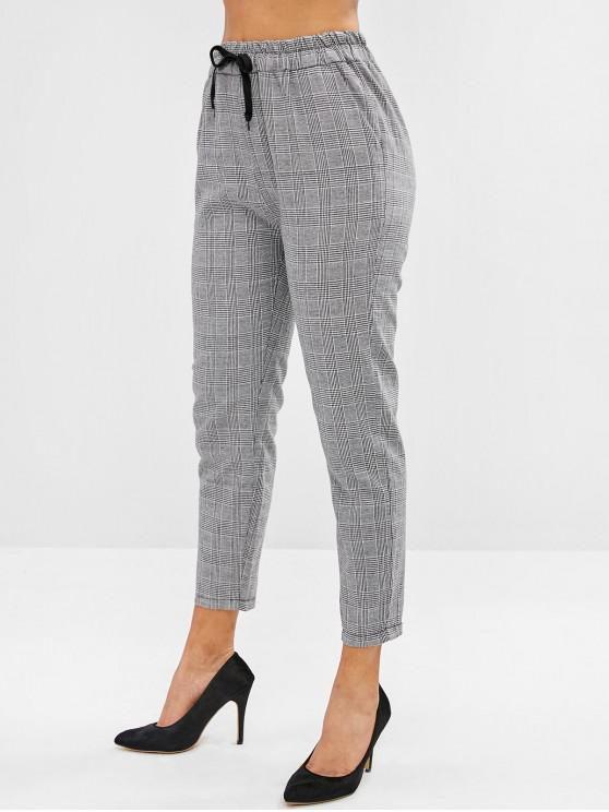 lady Checkered Drawstring High Waisted Tapered Pants - MULTI-A M