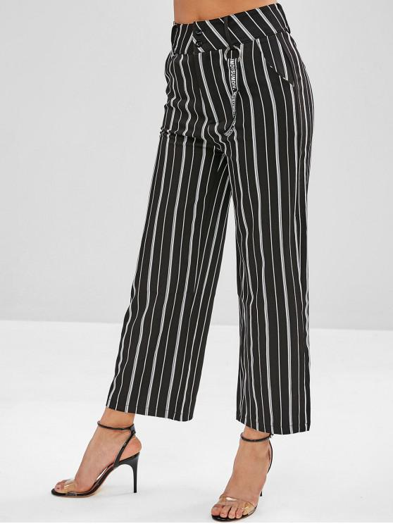 shops Striped Zipper Fly Straight Pants - BLACK M