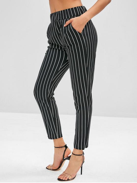 fashion Pocket Pinstriped Pencil Pants - BLACK S