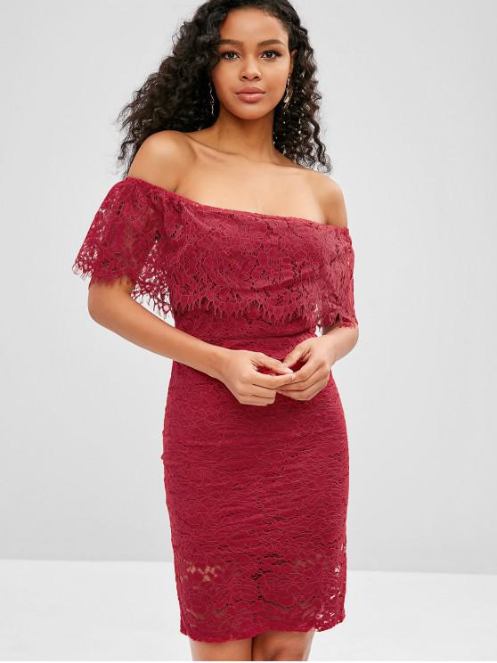 fashion Off Shoulder Flounce Lace Bodycon Dress - RED WINE M