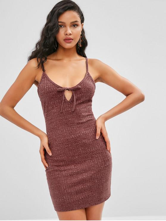 affordable ZAFUL Tied Keyhole Ribbed Mini Bodycon Dress - PUCE M