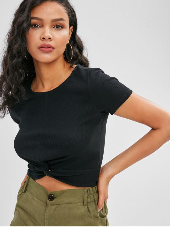 womens Twisted Ribbed Cropped Tee - BLACK S